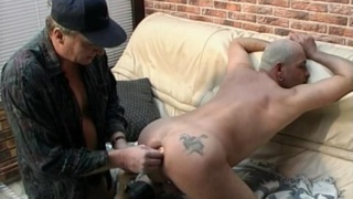 Daddy lover gets long line of big smooth balls up his ass