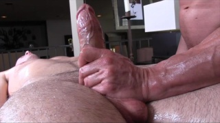 Older Masseur Rubs Big-Dicked Guy