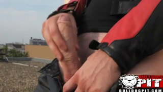 Biker Works his Cock Outdoors
