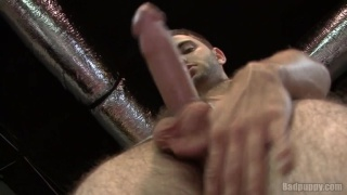 Hairy stud plays with his big dick
