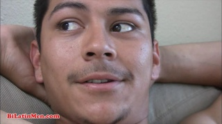 Latino stroking his big uncut dick