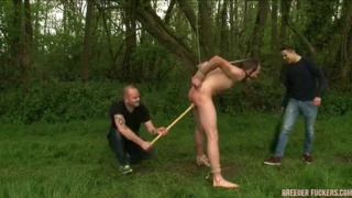 Straight Lad Tied Up and Dildo Fucked Outdoors