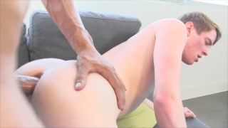 Big-Dicked Latino Unloads on White Stud