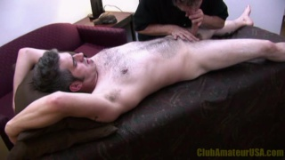 Furry Dude Gets Massage Table Blowjob