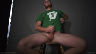 Tall, slim and hairy guy jerks off