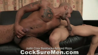 Black stud Justin Coxx bare fucks Armond Rizzo