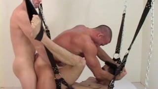 Twink gets his holes filled in raw bareback threeway