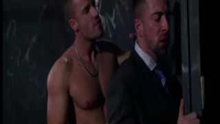 suited office worker fucked by jock in a sling