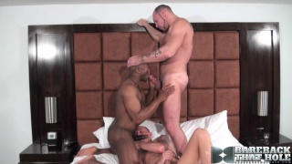 Group bareback interracial fuck