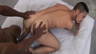 fuck whore Cory gets huge black cock in his hole