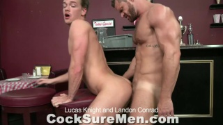 Muscle studs fucking in a bar