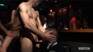 Sleazy group fucking in fetish club