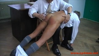 on his knees for a good spanking