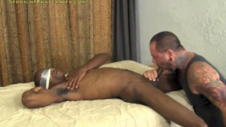 blindfolded black guy fucks hairy gay man bareback