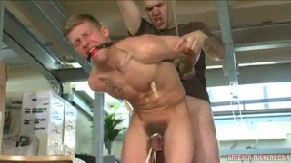Gagged slave brutally fucked