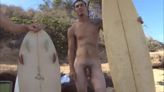 Hawaiian surfer boys Andy and Eddie nude on the beach