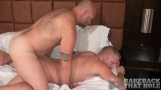 Bald daddy barebacks blond furry swede