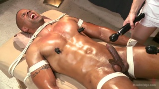 bound robert axel gets four-handed massage