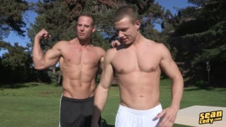 blond muscle jock rides goofy top's cock