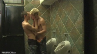 skinny blond finds dick in public toilet