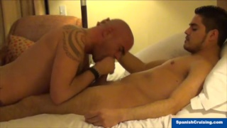 hunk gets serviced by bald daddy