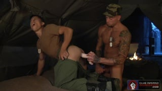 soldier dildo fucks two buddies in his tent