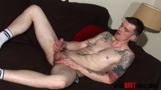 Scottish fittie wanking his foreskin dick