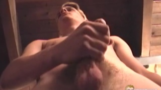 skinny blond guy beating off