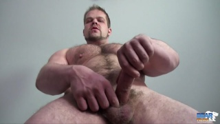 beefy muscled nordic god jacks off