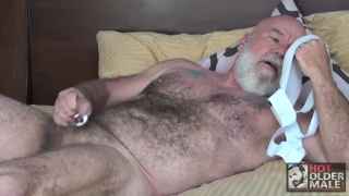 bearded daddy snorts his jockstrap while beating off