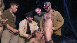 officer avery bent over and fucked in the woods