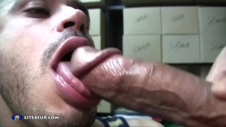 french cocksucker sucks off a masked hung stud