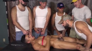 work crew bare fucks cute little Latino boy