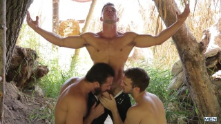 Gabriel Clark and Jessy Ares spit roasting Paddy O'Brian