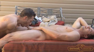 two southern boys fucking on a deck