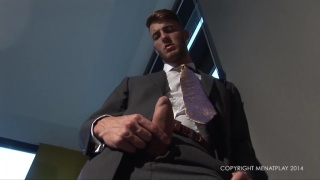 straight executive strokes his fat uncut cock