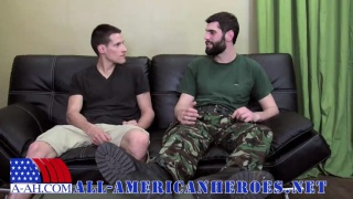 bearded military stud takes a huge cock