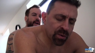 hairy bear bends over and a hot fuck