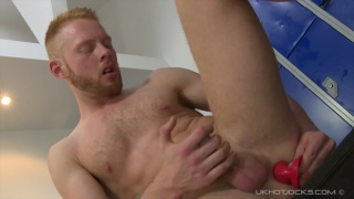 andros maas sits on dildo in locker room
