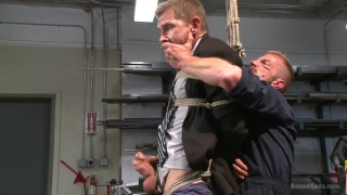 business man bound and fucked in machine shop