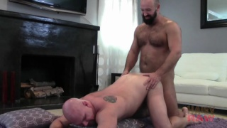 two bald hairy daddies fucking raw
