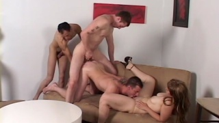 3 guys barebacking with a chick