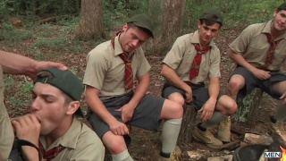 zeb atlas and 4 scouts have campfire gang bang