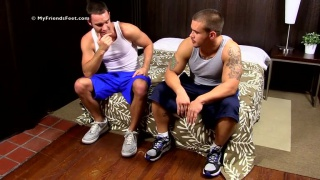 Personal Trainer Adam Gets His Big Feet Worshiped