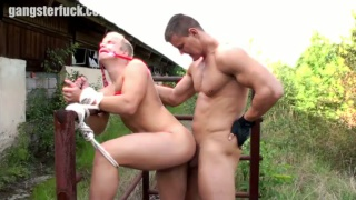 cute blond dragged outside and fucked