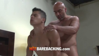 bald daddy has a fat bare cock for pretty latin boy