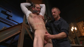 creepy handyman works over his boss in his weird sex room