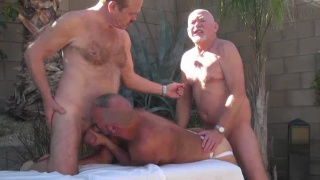 2 grandpas fuck a hot daddy outdoors