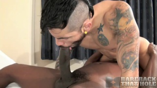 horny bottom rides an 11-inch black cock bare