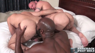 2 white bald bottoms for one mega-hung cock